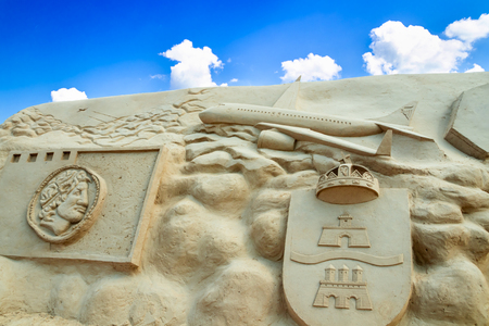 Lappeenranta, Finland - 20 June 2019: Sand castle in the harbor, focal theme of the year 2019 - Lappeenranta 370th jubilee year 報道画像