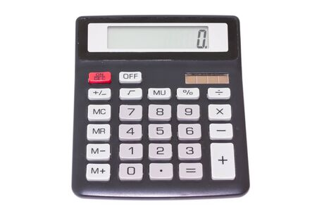 Black calculator isolated on white background, top view Banco de Imagens