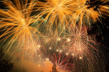 Colorful fireworks lights on the sky background, Kouvola, Finland