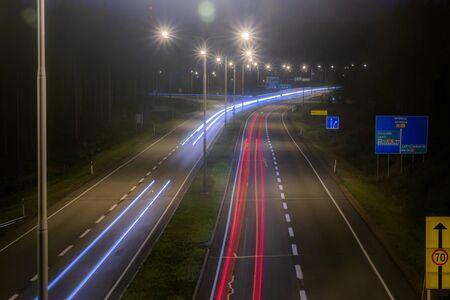 Kouvola, Finland - 24 August 2019: Long exposure photo. Night road in Kouvola, Finland