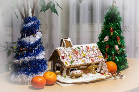 Christmas scene with trees and gingerbread house