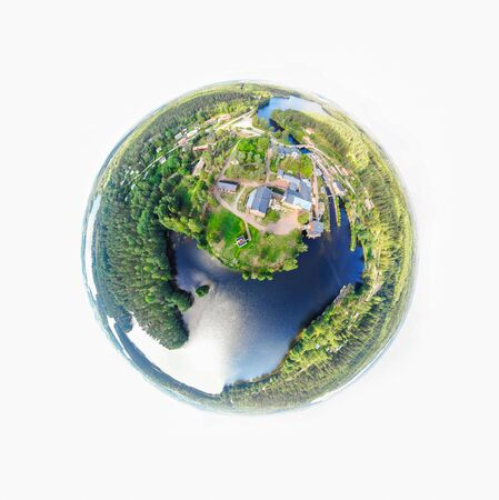 A three dimensional panoramic view of the Verla in Kouvola, Finland in a mini planet panorama style.