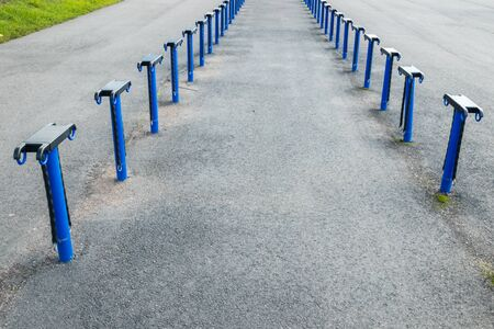 Empty place for a parking of bicycles on the Kouvola railway station, Finland