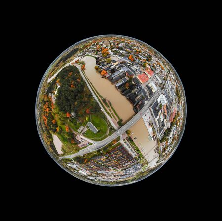 A three dimensional panoramic aerial view of the Old town of Porvoo, Finland in a mini planet panorama style. 版權商用圖片
