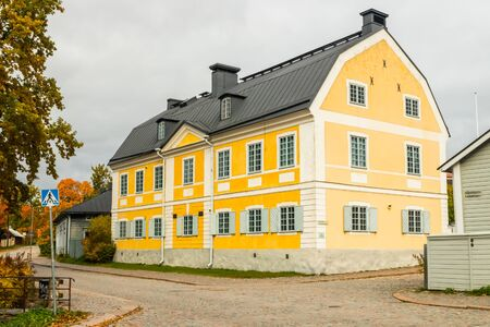 Street of Old Porvoo, Finland. City autumn landscape with beautiful building.