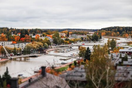View of Porvoo, Finland. Beautiful city autumn landscape with colorful buildings.