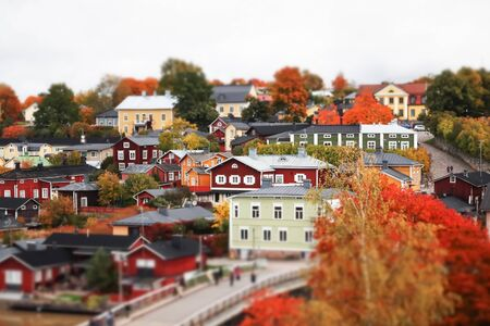 View of old Porvoo, Finland. Beautiful city autumn landscape with colorful wooden buildings. Banco de Imagens