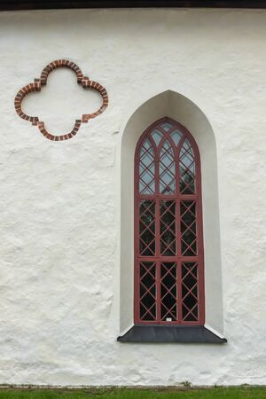 Beautiful window and wall of Porvoo Cathedral.