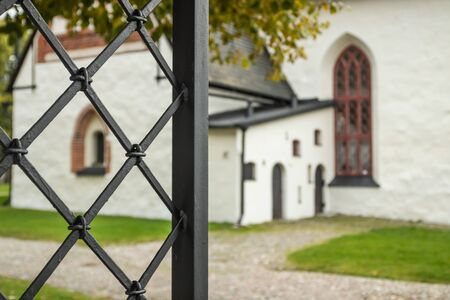 View of old Porvoo, Finland. Entrance of Porvoo Cathedral.