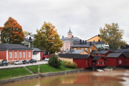 Street of Old Porvoo, Finland. Beautiful city autumn landscape with Old Town Hall. Banco de Imagens