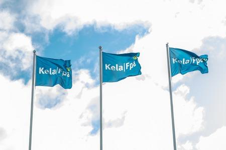 Kouvola, Finland - 22 September 2019: Flags of Kela. Kela is Finnish Social Insurance Institution. Editöryel