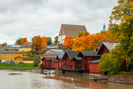 Porvoo, Finland - 2 October 2019: View of old Porvoo, Finland. Beautiful city autumn landscape with Porvoo Cathedral and colorful wooden buildings. Editorial