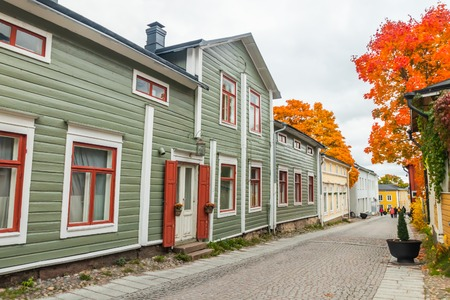 Porvoo, Finland - 2 October 2019: Street of Old Porvoo, Finland. Beautiful city autumn landscape with colorful wooden buildings. Editorial