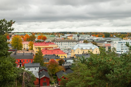 Porvoo, Finland - 2 October 2019: View of Porvoo, Finland. Beautiful city autumn landscape with colorful buildings.