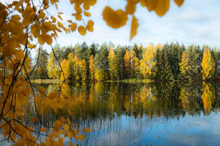 Beautiful autumn morning landscape of Kymijoki river waters. Finland, Kymenlaakso, Kouvola