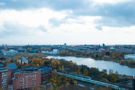 Aerial view of Helsinki Center at autumn cloudy evening.