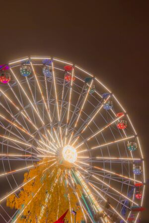 Ferris wheel at the amusement park, night illumination.
