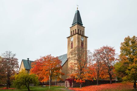 Kuusankoski church at beautiful autumn day, Finland.