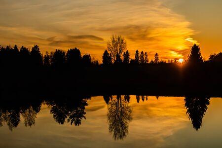 Beautiful sunset on river Kymijoki at autumn, Finland.