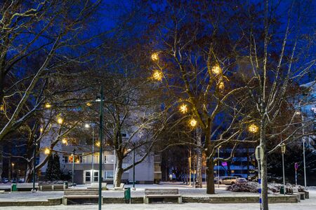 Christmas decorations in the central park of Kouvola with evening light illumination. Stock fotó - 135186203