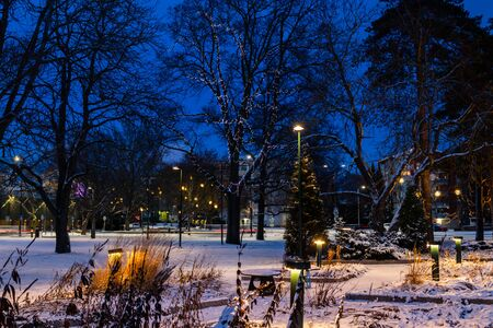 Christmas decorations in the central park of Kouvola with evening light illumination.