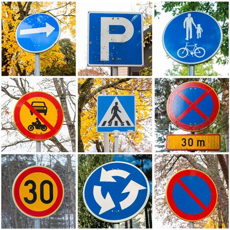 Collage of nine european traffic road signs.