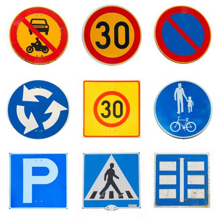 Collage of traffic road signs on white background