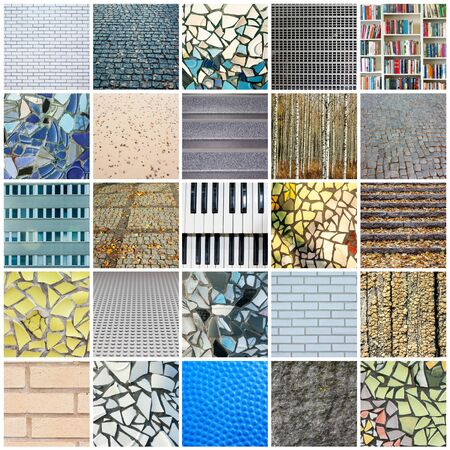Background of wet mosaic wall decorative ornament from ceramic broken tile. Full size.