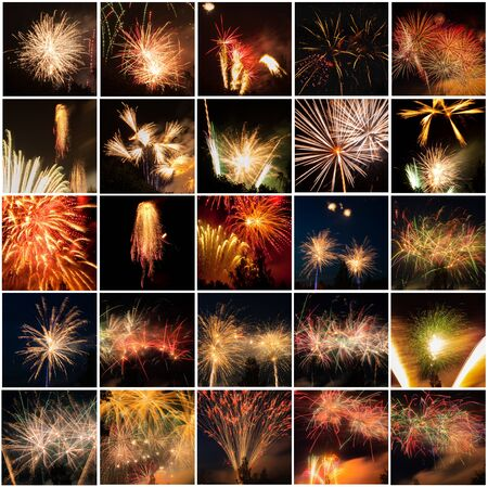 Set of beautiful fireworks in dark sky. Full size.