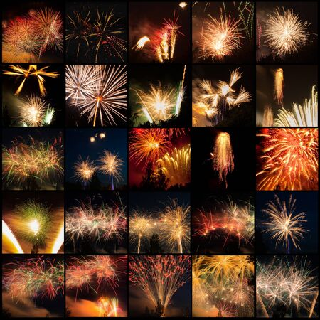 Set of beautiful fireworks in dark sky. Stock fotó