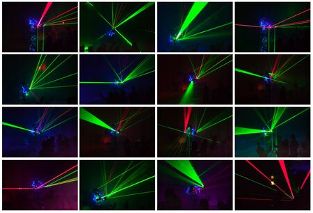 Set of colorful lights show. Laser show in motion in dark. Full size. Stock fotó