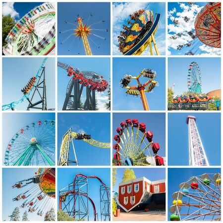 Set of colorful rides in amusement park. Full size.