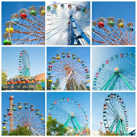 Set of colorful ferris wheels in amusement parks. Full size. Stock fotó