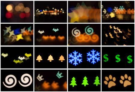Set of blurred photo of defocused bokeh colorful lights in the different shapes. Full size.