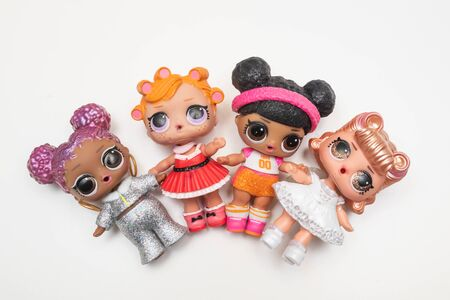 Kouvola, Finland - 17 December 2019: L.O.L. surprise dolls on white background