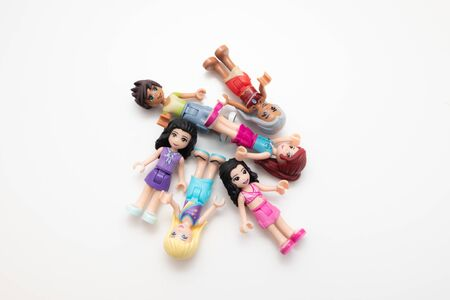 Kouvola, Finland - 17 December 2019: Lego Friends minifigures on white background