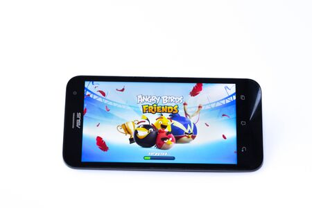 Kouvola, Finland - 23 January 2020: Game Angry Birds on the screen of smartphone Asus Editorial