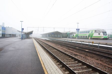 Kouvola, Finland 31 March 2016 - Kouvola railway station in fog.