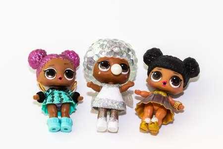 Kouvola, Finland - 23 January 2020: Three beautiful L.O.L. surprise dolls on white background