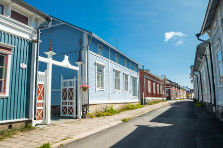 Rauma, Finland - 27 June, 2019: Old Rauma, one of UNESCO World Heritage sites, is the largest unified wooden town in the Nordic countries. Editöryel
