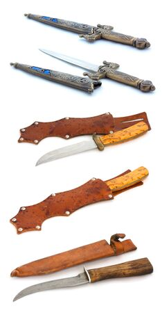 Collection of knives isolated on white background. Full size. Stock Photo