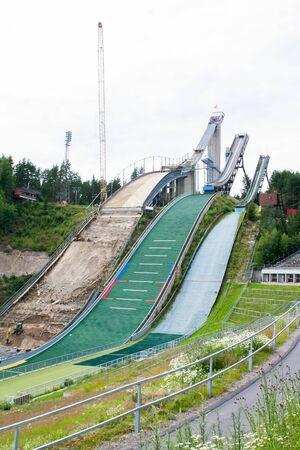 Three ski jumps on repair at summer Banque d'images