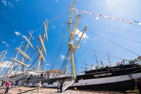 Barque Kruzenshtern in the port of Kotka, Finland Standard-Bild