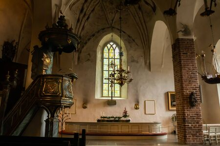 Porvoo, Finland - 2 October 2019: Interior of Porvoo Cathedral