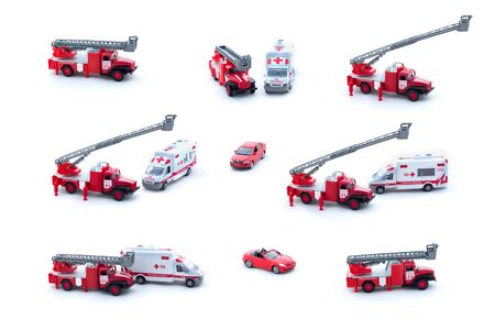 Collage of toy Fire Truck, Ambulance and red car isolated on white background.
