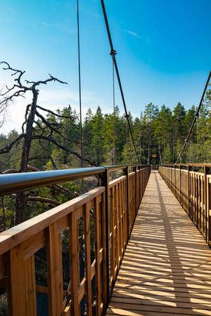 New bridge over the lake Lapinsalmi in the National Park Repovesi, Finland