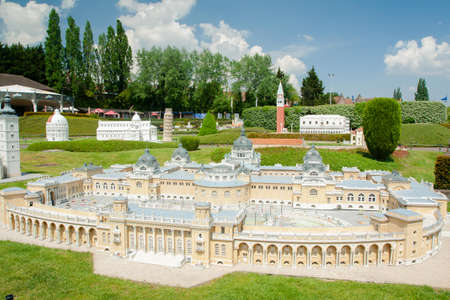 BRUSSELS, BELGIUM - MAY 13, 2016: Miniatures at the park Mini-Europe - reproductions of monuments in the European Union at a scale of 1:25. Budapest, Hungary.