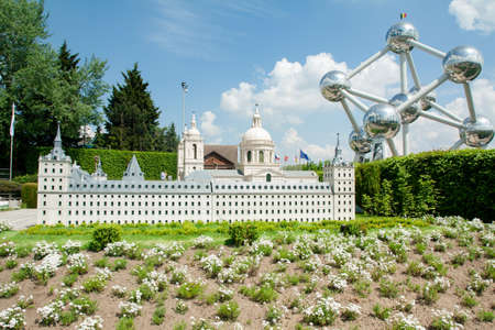 BRUSSELS, BELGIUM - MAY 13, 2016: Miniatures at the park Mini-Europe - reproductions of monuments in the European Union at a scale of 1:25. Spain Publikacyjne