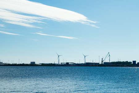 Windmills on island Mussalo in Baltic Sea, Kotka, Finland Archivio Fotografico