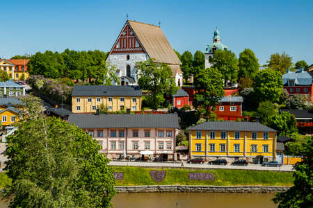 Beautiful panoramic view of Porvoo Cathedral and old town of Porvoo